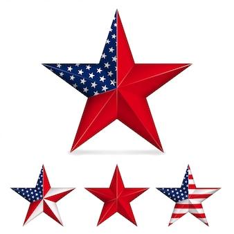 Rode vijfpuntige ster die op wit wordt geïsoleerd
