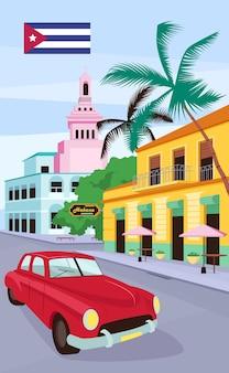 Rode vintage auto in havana poster platte sjabloon