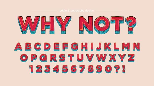 Rode vintage komische aangepaste typografie ontwerp