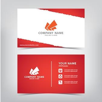 Rode visitekaartje met stijl gescheurd papier