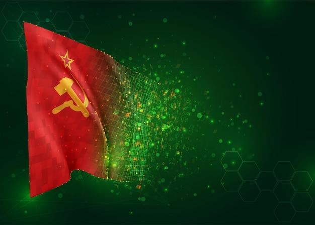 Rode vlag van communisme ussr 3d vlag op groene achtergrond met veelhoeken