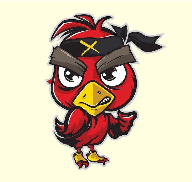 Rode vogel mascotte concept