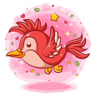 Rode vogel vliegen stripfiguur