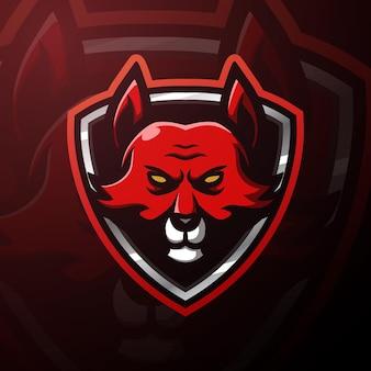 Rode vos hoofd mascotte esport illustratie