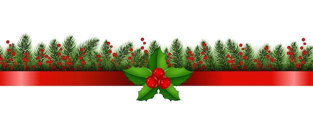 Rode vrolijke kerstmis met kerstmisgrensillustratie