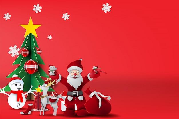 Rode vrolijke kerstmis met scène plaatst uw tekst.