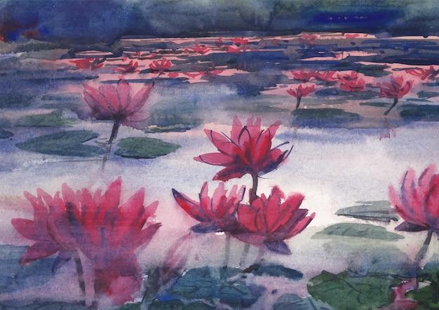 Rode waterlelie natuur schilderij aquarel achtergrond