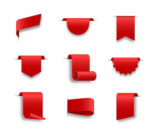 Rode weblinten set gekrulde scrolllinten