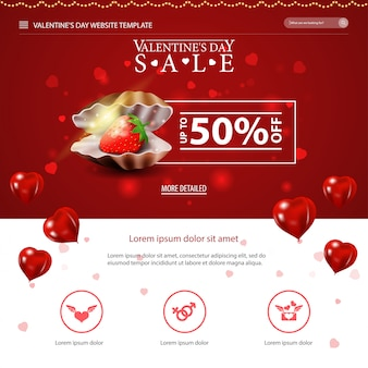 Rode website sjabloon met valentijnsdag ontwerp
