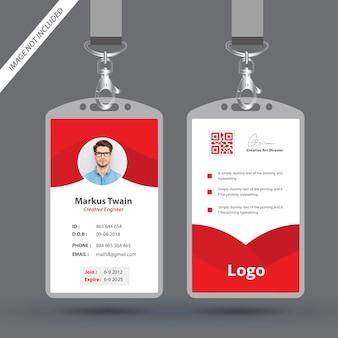 Rode werknemer identiteitskaart ontwerpsjabloon