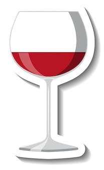 Rode wijn op glas sticker sjabloon