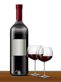 Rode wijn op witte achtergrond