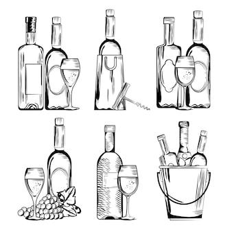 Rode wijn stel pictogrammen