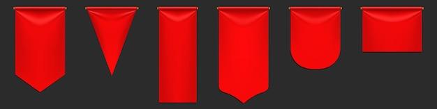 Rode wimpel vlaggen mockup