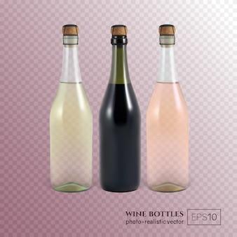 Rode, witte en rose wijnflessen op transparant deze wijnflessen kunnen op elke fles geplaatst worden