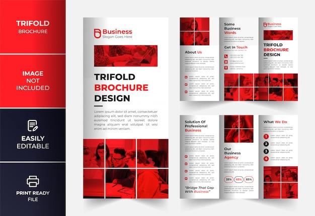 Rode zakelijke driebladige brochure ontwerpsjabloon