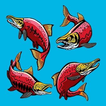 Rode zalmvisstijl voor sjabloonontwerp voor gamefish