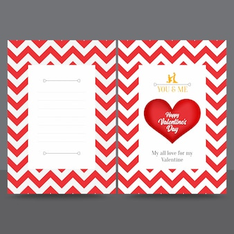 Rode zigzag valentine greeting card ontwerpsjabloon