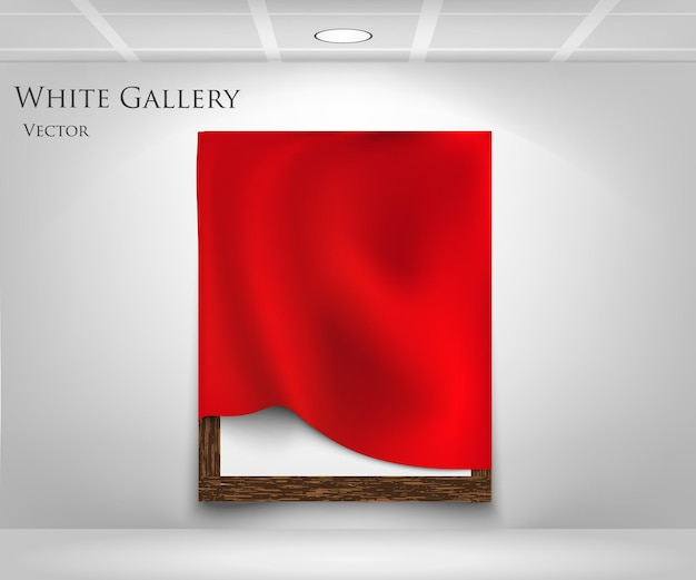 Rode zijden gordijnen op frame.