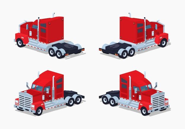 Rode zware 3d lowpoly isometrische vrachtwagen