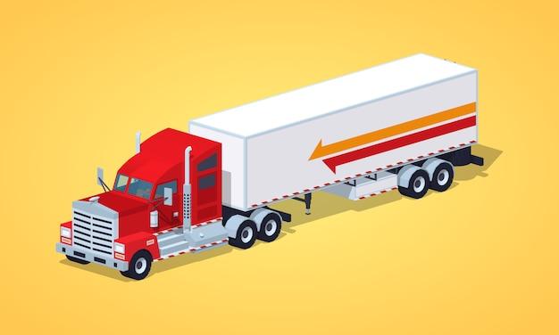 Rode zware amerikaanse vrachtwagen met de aanhangwagen