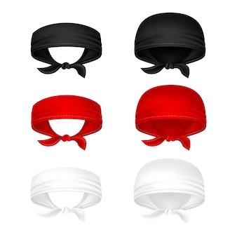 Rode, zwart-witte hoofdbandanas vectorillustratie