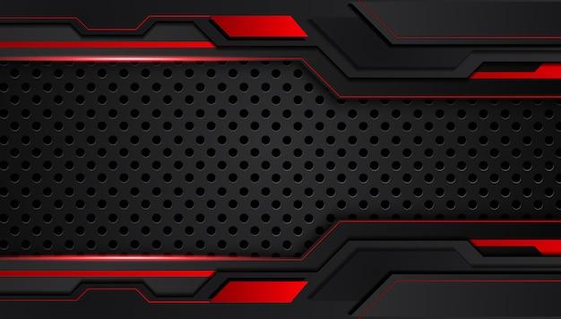 Rode zwarte abstracte metalen frame lay-out ontwerp technologie innovatie achtergrond.