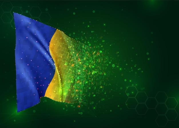 Roemenië, 3d vlag op groene achtergrond met polygonengon