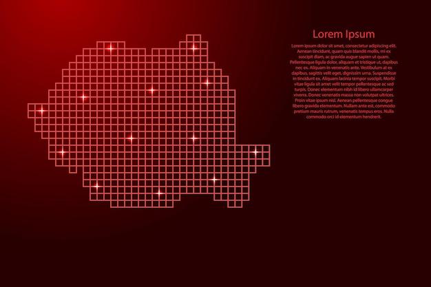 Roemenië kaart silhouet van rode mozaïek structuur pleinen en gloeiende sterren. vector illustratie.