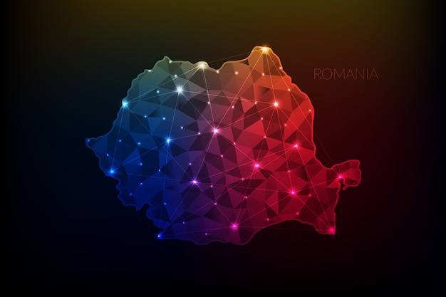 Roemenië kaart veelhoekig met gloeiende lichten en lijn