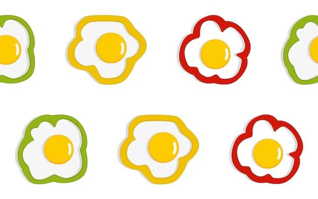 Roerei patroon. gebroken eieren naadloos patroon. ontbijt achtergrond. naadloze voedsel vector patroon. vlakke afbeelding voor textiel, behang, inpakpapier, scrapbooking. vector illustratie