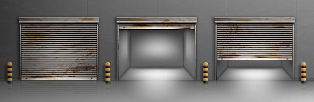 Roestige garagedeuren, magazijn, hangar-ingangen