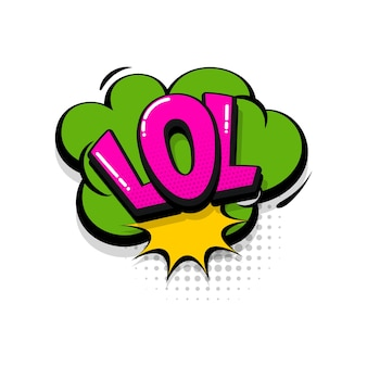 Rofl lol komische tekst geluidseffecten pop-art stijl vector tekstballon woord cartoon