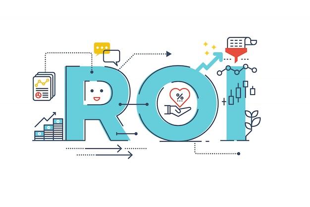 Roi: rendement op investering woord belettering typografie ontwerp illustratie