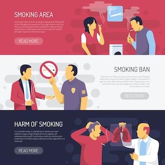 Roken gezondheidsrisico's horizontale banners