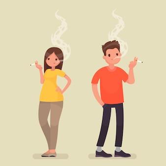Roken mensen. man en vrouw met een sigaret op geïsoleerd. in een vlakke stijl