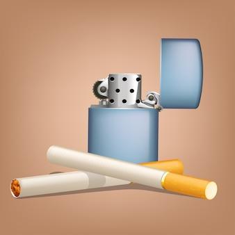 Roken van sigaretten met zippo