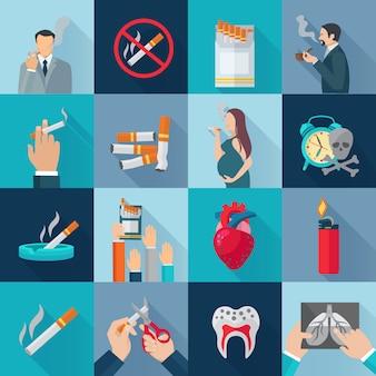 Roken verslaving plat lange schaduw pictogrammen instellen
