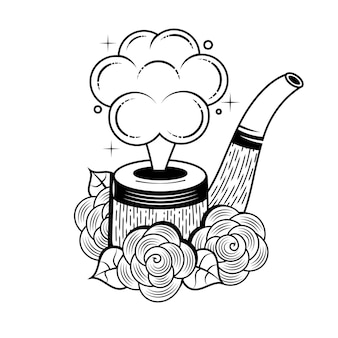 Rokende pijp met vleugels. vintage stijl, tatoeage