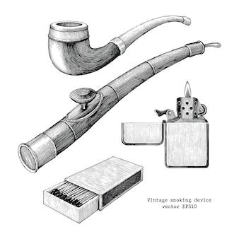 Roker apparaat hand tekenen vintage geïsoleerd op een witte achtergrond, tabakspijp, opiumpijp, match en lichtere schets