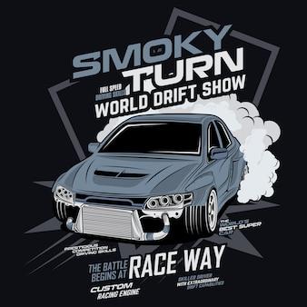 Rokerige draai wereld drift show, vector auto illustratie
