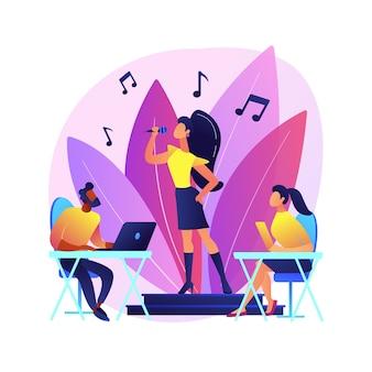 Rol auditie abstract concept illustratie. acteursauditie, demonstratie acteervaardigheden, cinematografie, hoofdcast, talent zoeken, introductie-interview, hoofdrol.