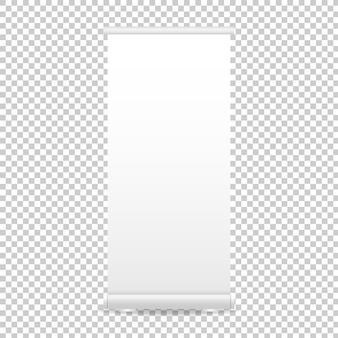 Rol de bannerweergave op. lege roll-up banner mockup geïsoleerd op transparante achtergrond. illustratie.