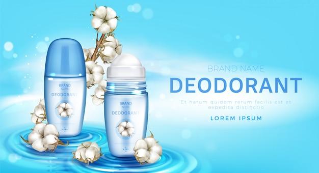 Rol deodorant en katoenen bloemen realistisch op
