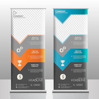 Rol het ontwerp van de de vliegersjabloon van de bannervatbrochure met neonkleur op