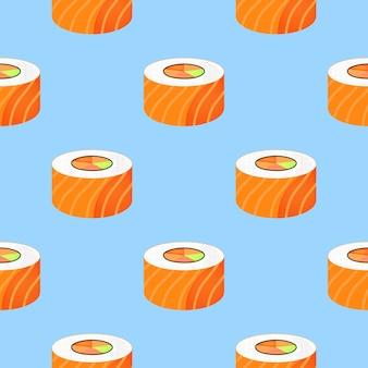 Rol met zalm. naadloze patroon. traditioneel japans eten.