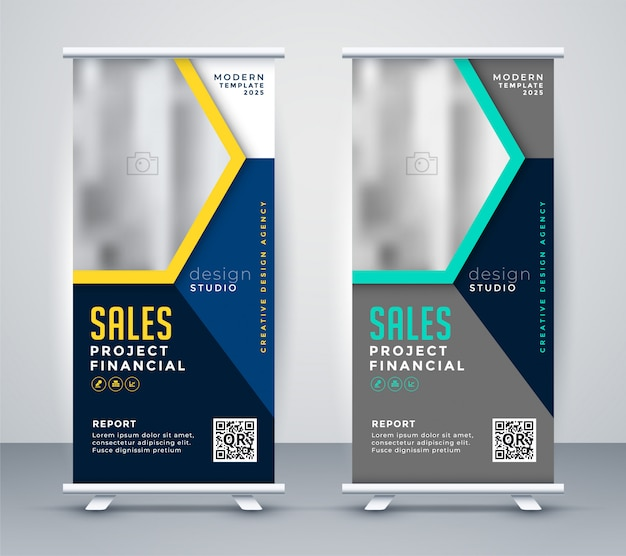Rol uo banner standee in stijlvol modern thema