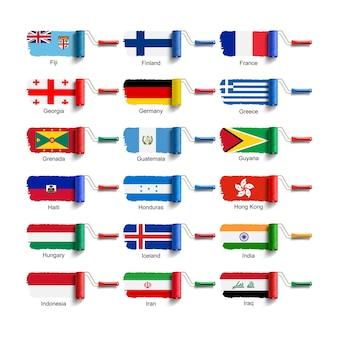 Rolborstel met nationale vlag