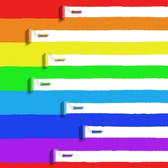 Rolborstel met regenboogkleuren verf Premium Vector