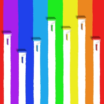 Rolborstel met regenboogkleuren verf
